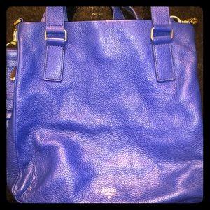 USED Fossil Preston Leather Shopper Sapphire